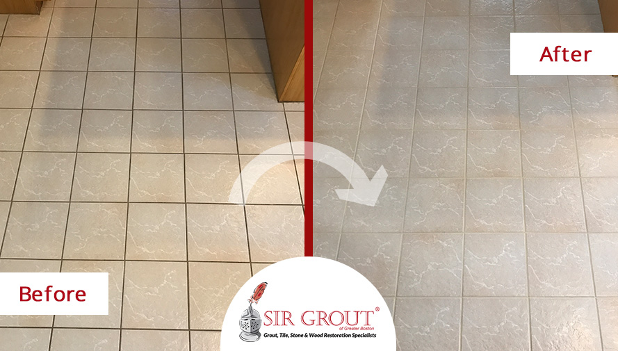 Before and After Picture of a Floor Grout Cleaning Service in Newton Center, Massachusetts