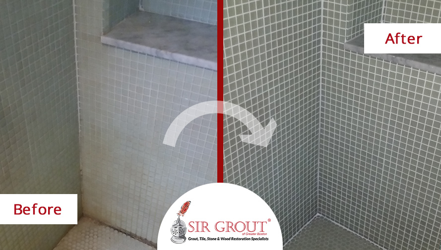 Soap scum and mold plagued this mosaic tile shower in for Soap scum on shower floor