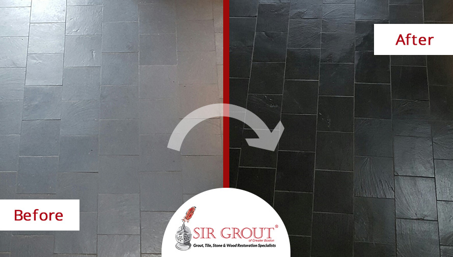 Dull Slate Floor in Lincoln MA Gets Its Shine Restored After a