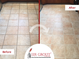 Kitchen Porcelain Floor Looks Spotless After a Grout Recoloring ...