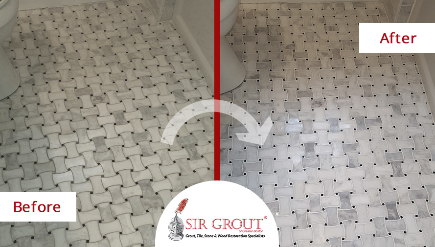 This Beautiful Braided Marble Bathroom Was Revived With A Grout Sealing  Service In Watertown, MA