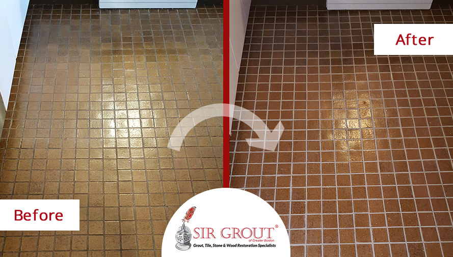 See How This Aged Tile Floor in Arlington, MA was Revived with a Grout Recoloring and Sealing Service
