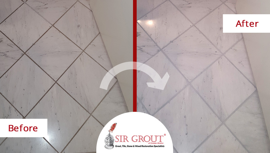 Before and After Picture of a Marble Bathroom Cleaning Job in Boston, Massachusetts