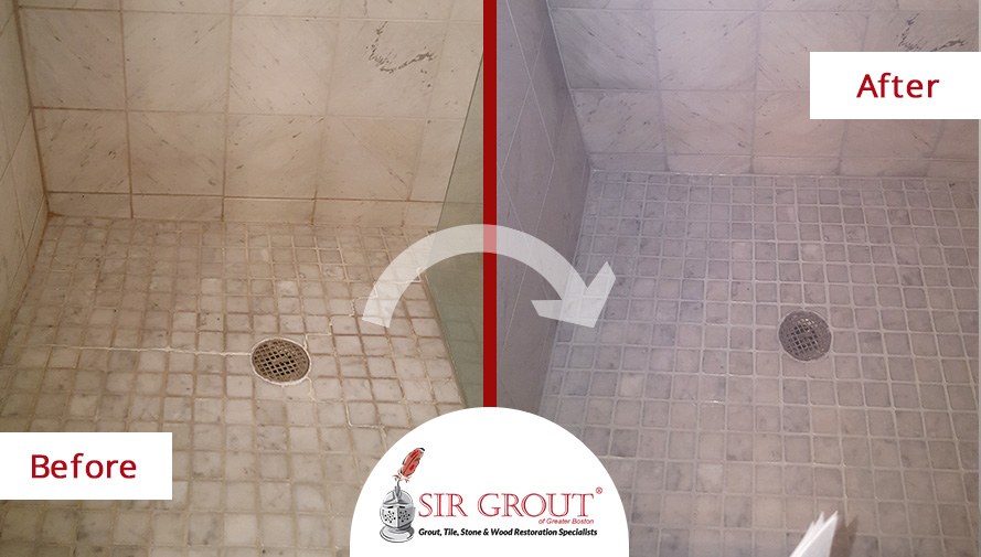 Before and After Picture of a Marble Shower Cleaning Service in Boston, Massachusetts