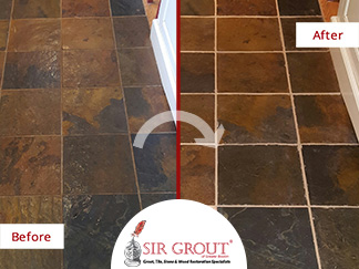 Before and After Pictures of a Stone Sealing Service on a Slate Floor in Sudbury