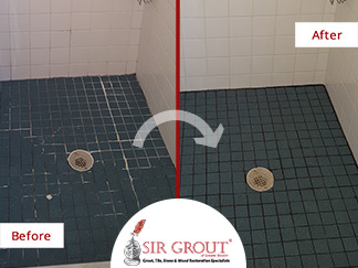 Before and After Picture of a Grout Recoloring Job of a Shower in Sharon, MA
