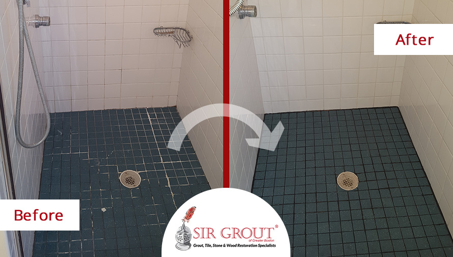 Before and After Picture of a Grout Recoloring Service of a Shower in Sharon, Massachusetts