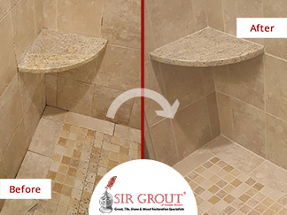 Before and After Picture of a Stained Shower Improved with a Grout Cleaning Job in Acton, Massachusetts