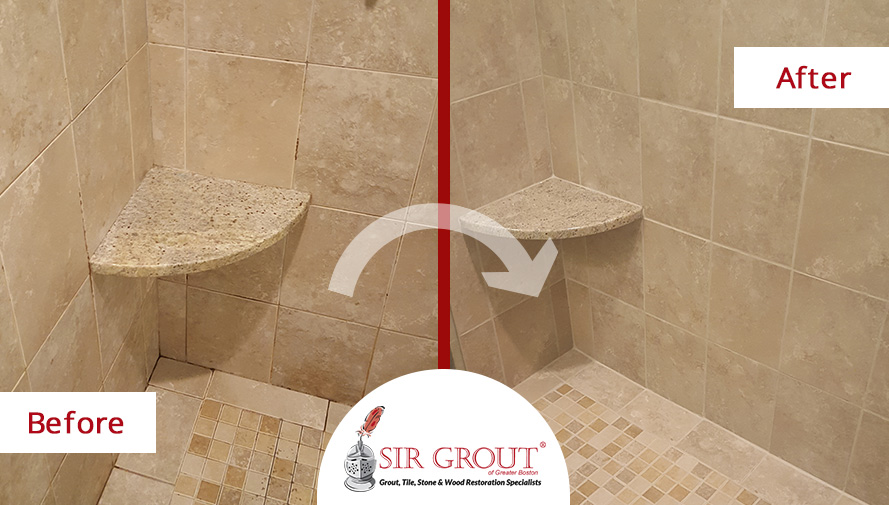 Heavily Stained Shower In Acton MA Is Improved With A Grout Cleaning - Bathroom grout cleaning services