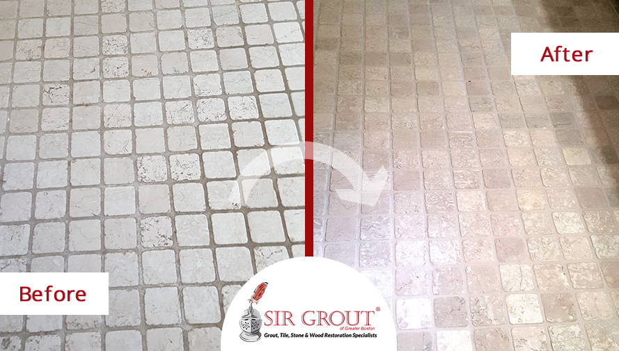 Before and After Picture of a Bathroom's Marble Floor After a Grout Cleaning and Sealing