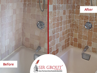 Before and After Picture of a Tumbled Marble Shower Stone Cleaning and Sealing Service