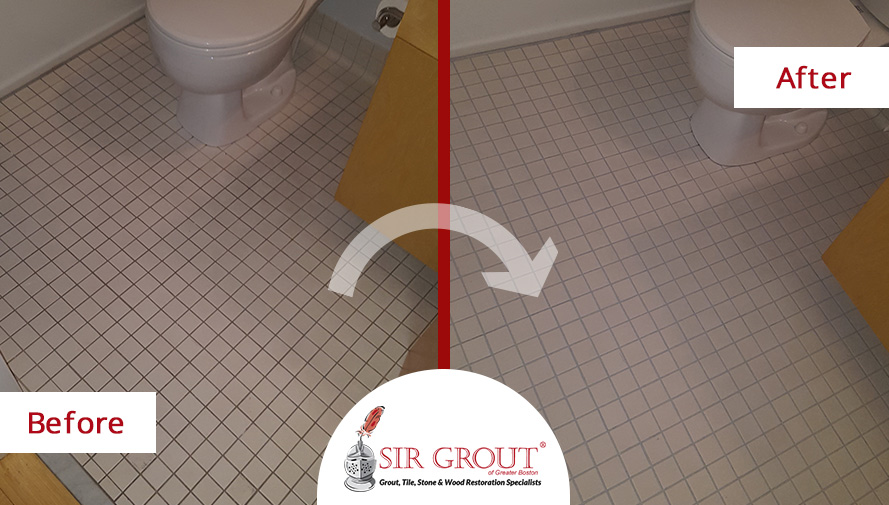 Before and After Picture of a Bathroom Grout Cleaning Service in Boston, MA