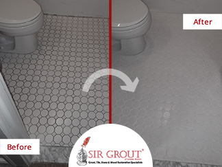Before and After Picture of a Bathroom Floor Tile Cleaning Service in Wakefield, Massachusetts
