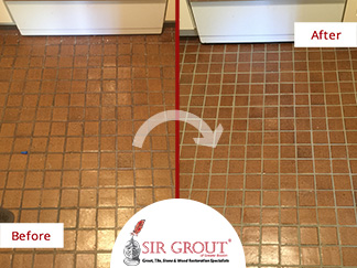 Before and After Pictures of a Grout Cleaning and Color Sealing Service in Arlington, MA