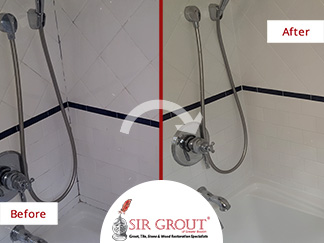 Before and After Picture of a Bathroom Grout Sealing Service in Belmont, MA