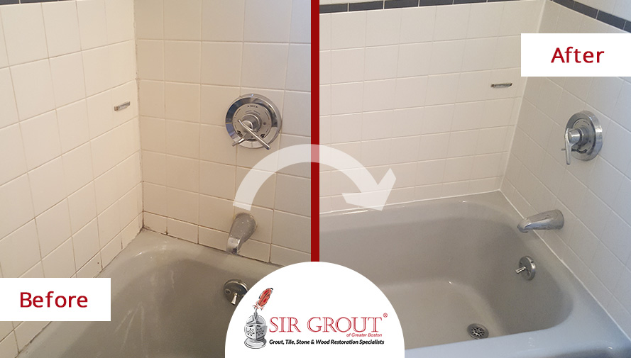 Before and After Picture of a Tile Shower Caulking Service in Newton Center, Massachusetts