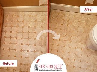 Before and After Picture of a Bathroom Floor Grout Cleaning Service in Middleton, Massachusetts