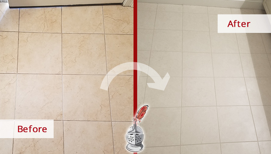 Before and After Picture of a Kitchen's Floor Grout Cleaning Service in Middleton, Massachusetts