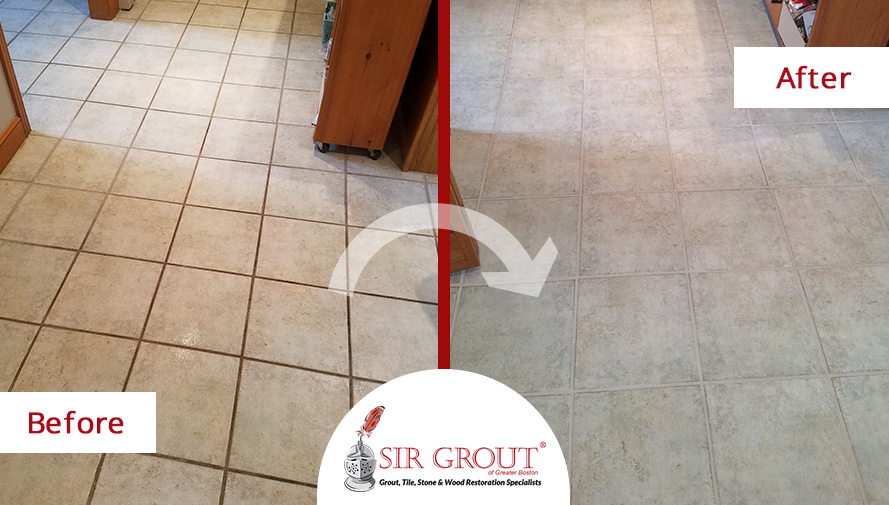 Before And After Picture Of A Tile Floor Grout Cleaning Service In  Burlington Ma With Cleaning Kitchen Floor Grout.