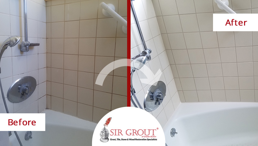 Before and After Picture of a Grout Cleaning Service in Boston, MA