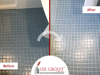 Before and After Picture of a Grout Recoloring Service in Arlington, MA