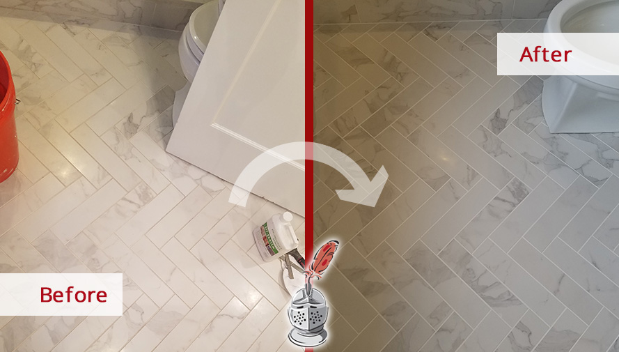 Before and After Picture of a Bathroom Floor Grout Sealing Service in West Newton, Massachussets