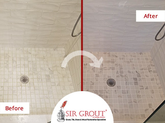 Before and After Picture of a Bathroom Grout Sealing Service in West Newton, Massachussets