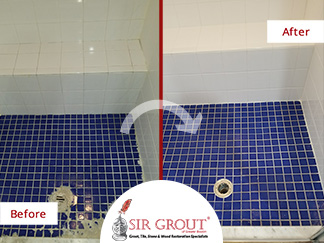 Before and After Picture of a Shower Tile Cleaning Service in Waban, Massachusetts