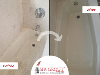 Before and After Picture of a Shower Caulking Service in Walpole, MA