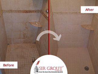 Before and After Picture of a Shower Tile Sealing Service in Natick, Massachusetts
