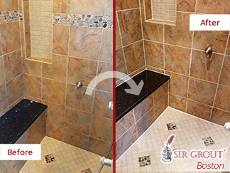 Before and After Picture of a Bathroom Stone Sealing in Braintree, Massachusetts
