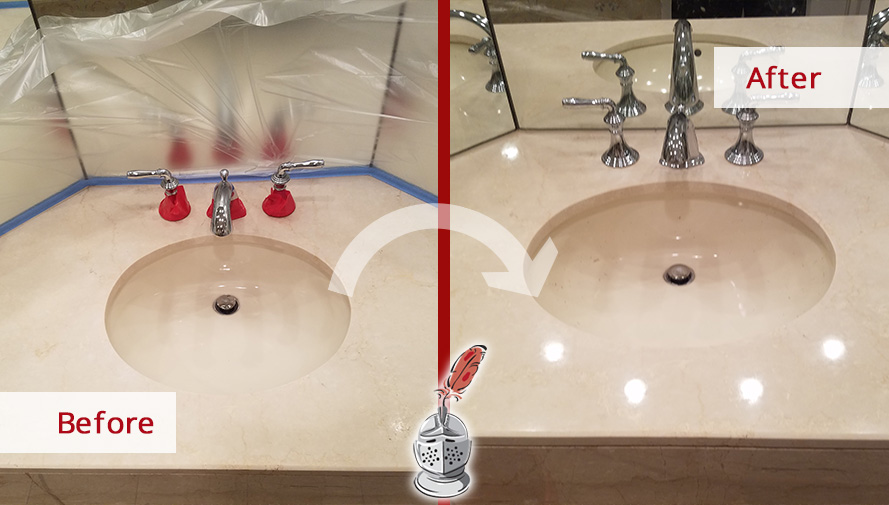 Before and after Picture of a Bathroom Vanity Top That Was Renewed after a Stone Polishing Job Done in Boston, Ma