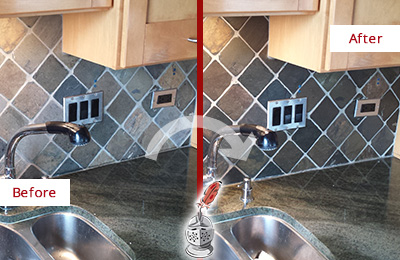 Before and After Picture of a Kitchen Blacksplash Caulked to Avoid Water Damage