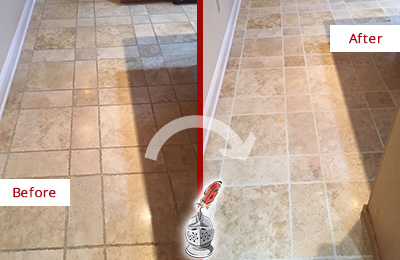 Before and After Picture of Dirty Kitchen Tumbled Travertine Floor Honed and Polished to Recover its Sheen