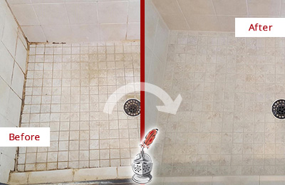 Before and After Picture of a Elmwood Shower Caulked to Fix Cracks