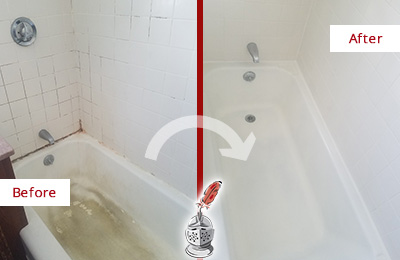 Before and After Picture of a Elmwood Bathtub Caulked to Repair Cracks