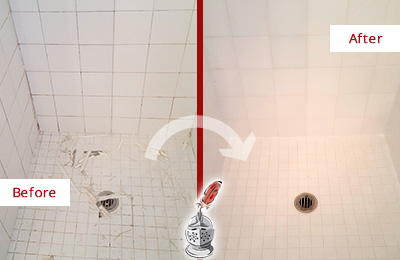 Before and After Picture of a Jamaica Plain Bathroom Re-Caulked To Repair Damaged Caulking