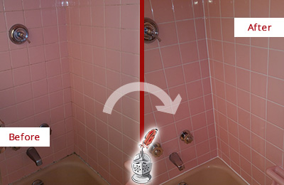 Before and After Picture of a Jamaica Plain Bathtub Caulked to Eliminate Mold