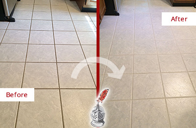 Before and After Picture of a Cochituate Kitchen Ceramic Floor Sealed to Protect From Dirt and Spills