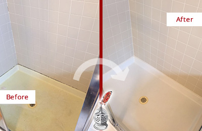 Before and After Picture of a Cochituate Shower Sealed to Remove and Protect Against Mold