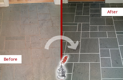 Before and After Picture of a Bellingham Slate Floor Cleaned to Remove Deep-Seated Dirt