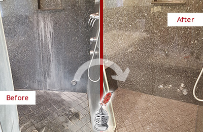 Before and After Picture of a Bellingham Granite Shower Cleaned to Remove Mineral Deposits