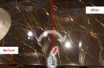 Before and After Picture of a Lexington Marble Countertop Cleaned to Remove Water Spots