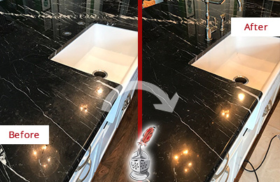 Before and After Picture of a Hamilton Marble Kitchen Countertop Stone Sealed to Avoid Water Damage