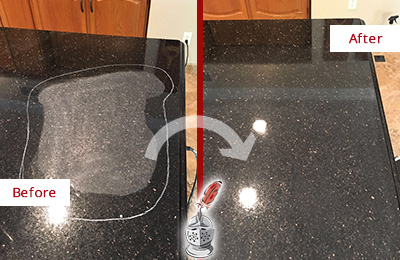 Before and After Picture of a Humarock Hard Surface Restoration Service on a Granite Countertop to Remove Scratches
