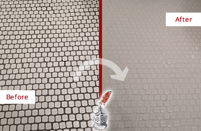 Before and After Picture of a Millis Hard Surface Restoration Service on a Bathroom Tile Floor Recolored to Fix Grout Color