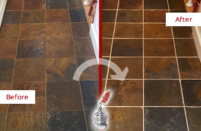 Before and After Picture of a Bolton Slate Floor Recolored Grout