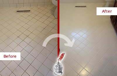 Before and After Picture of a Ashby White Bathroom Floor Grout Sealed for Extra Protection