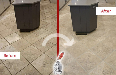 Before and After Picture of a Accord Kitchen Floor Grout Sealed to Remove Stains