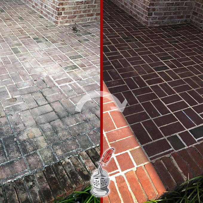 Outdoor Floor Before And After A MicroGuard High Durability Coating Process
